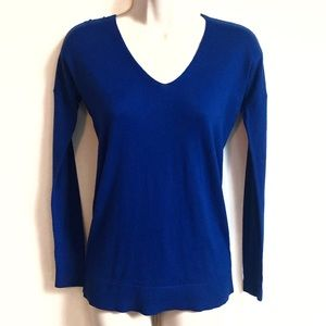 🆕 Express cashmere fitted v neck blue sweater